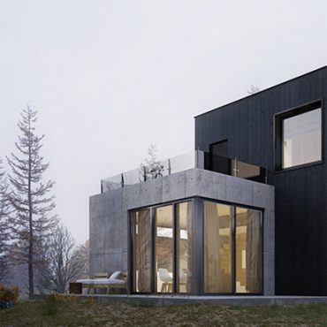 Boxed Concrete House In Winter Forest