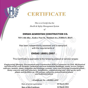 Health and Safety Management System- OHSAS 18001: 2007